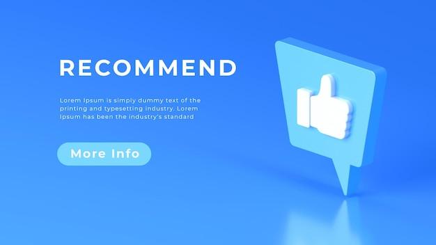 Símbolo recomendado de renderização em 3d ou conceito da web semelhante