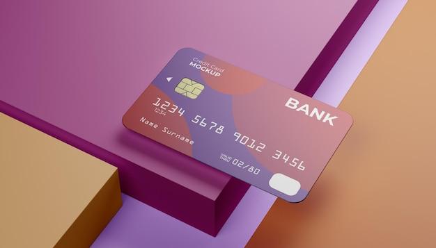 Simulação de cartões de crédito com sombra clara e plano de fundo do palco em cubo