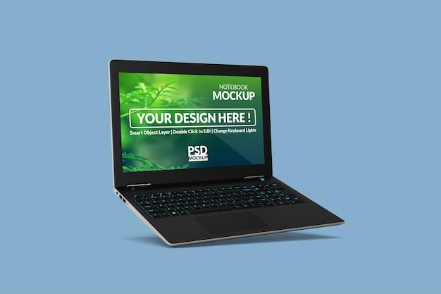 Simulação de laptop realista personalizável design em vista flutuante
