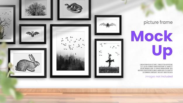 Simulação de porta-retratos de uma coleção de molduras para fotos em um interior moderno e luminoso