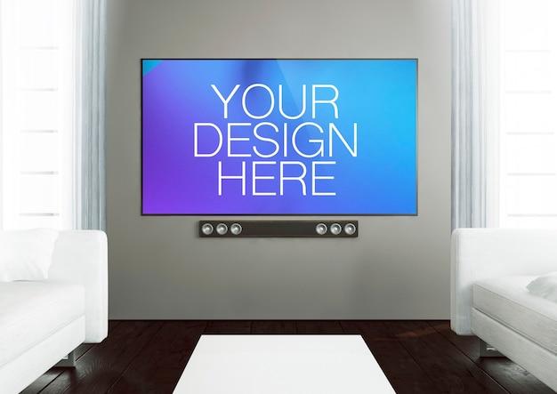 Simulação de televisão de tela grande na sala de estar