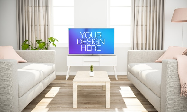 Simulação de televisão em uma sala de estar