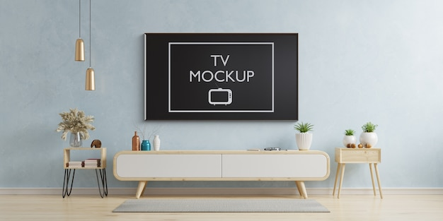 Simulação de tv em renderização em 3d de sala de estar moderna