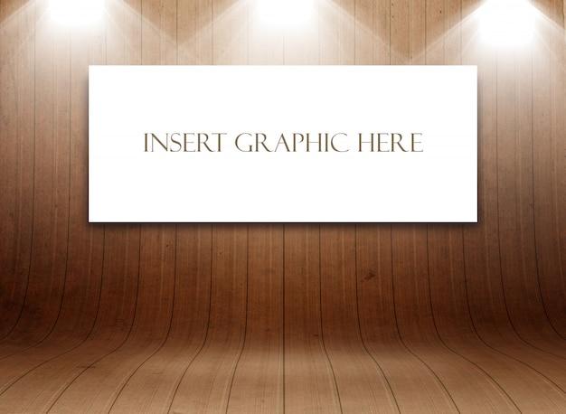 Simulação editável com tela em branco na exibição da sala de madeira curvada