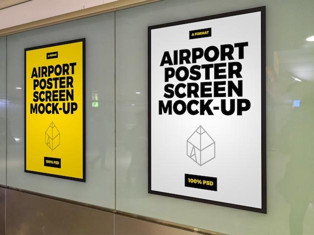 Simulações de tela de pôster de aeroporto