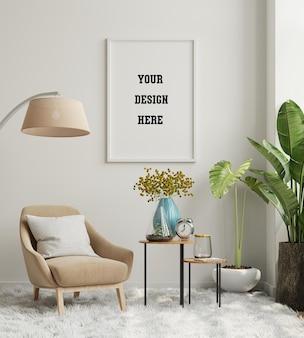 Simule a moldura do pôster na parede vazia do interior da sala de estar com poltrona de veludo. renderização 3d