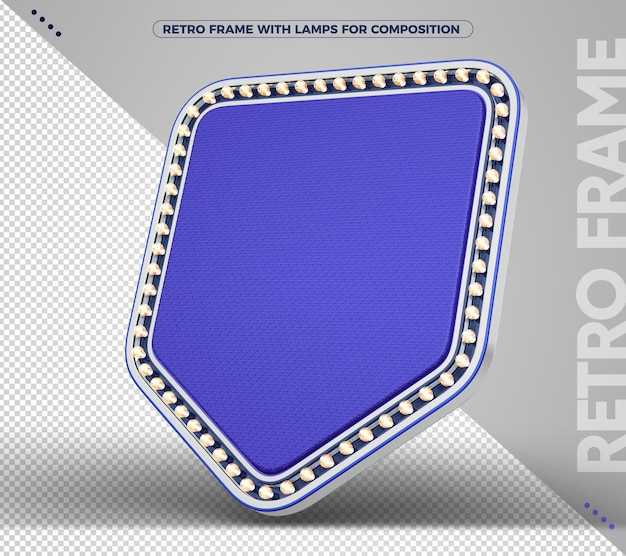 Sinal com banner retro vintage azul claro com prata