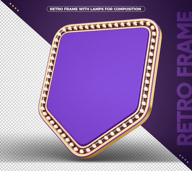 Sinal com banner retro vintage violeta claro com ouro