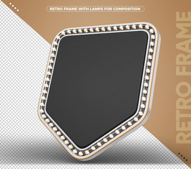 Sinal com banner vintage retro claro preto com prata