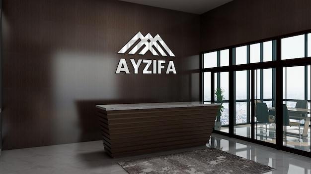 Sinal da maquete do logotipo na sala interna do escritório da recepcionista