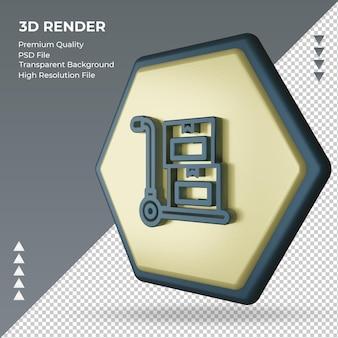 Sinal de fábrica de frete ícone 3d renderizando a vista direita