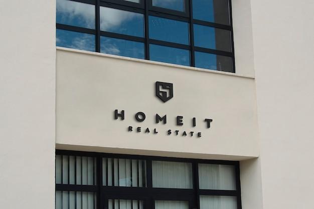Sinal de fachada bege de maquete de logotipo