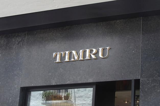 Sinal de fachada de luxo maquete logotipo 3d
