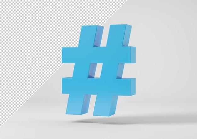 Sinal de hashtag isolado em renderização 3d