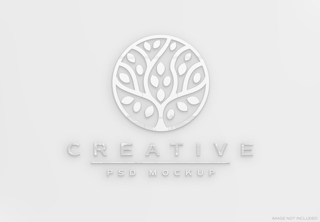 Sinal de logotipo 3d branco com efeito brilhante