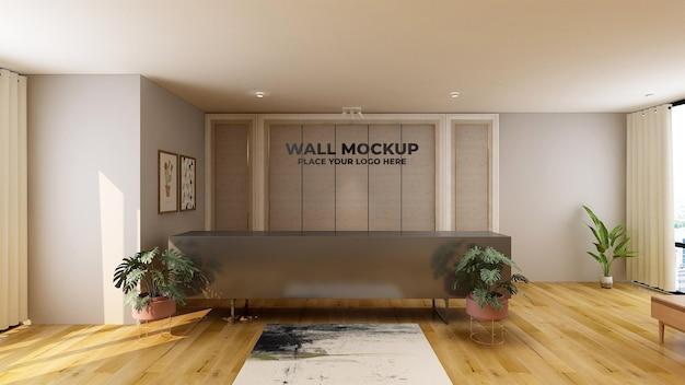 Sinal de maquete de logotipo de luxo na sala de escritório do hotel interno da recepcionista