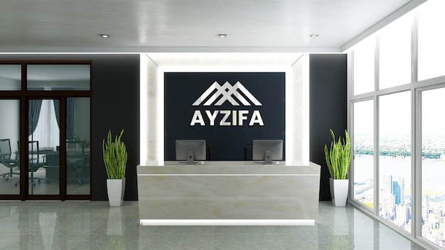 Sinal de maquete de logotipo de luxo na sala do escritório do hotel