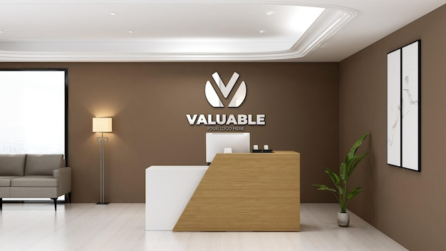 Sinal de maquete do logotipo 3d na sala do escritório da recepcionista