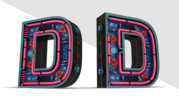Sinal de néon em forma de letra d
