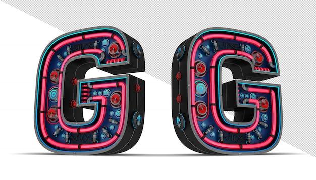 Sinal de néon em forma de letra g