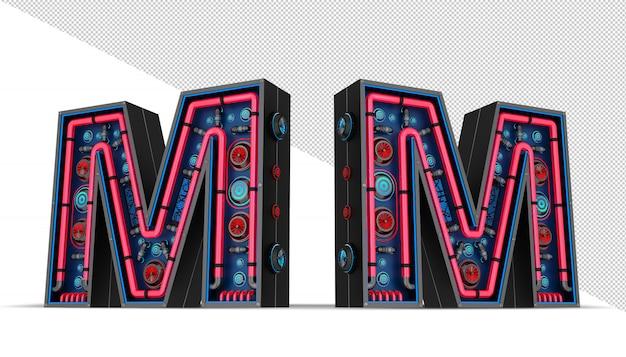 Sinal de néon em forma de letra m