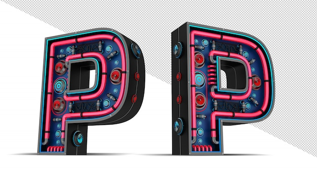 Sinal de néon em forma de letra p
