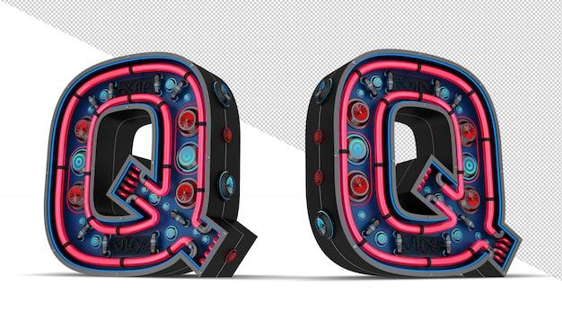 Sinal de néon em forma de letra q