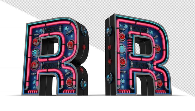 Sinal de néon em forma de letra r