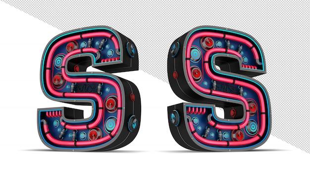 Sinal de néon em forma de letra s
