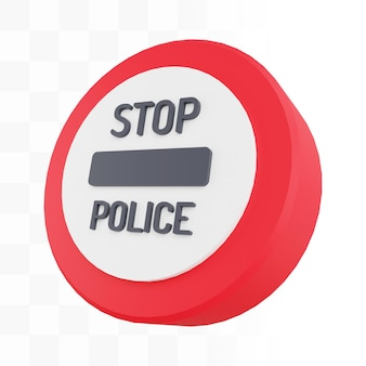 Sinal de parada policial 3d