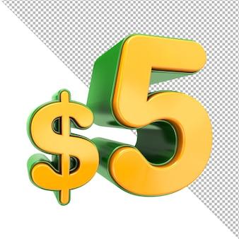 Sinal de preço de 5 dólares renderização em 3d