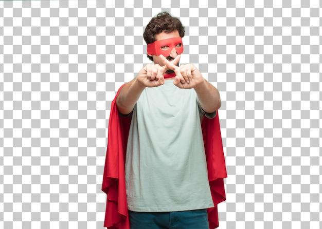 Sinal de rejeição jovem louco super herói homem
