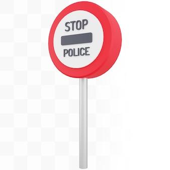 Sinal policial de parada 3d com poste de metal