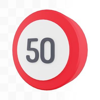 Sinalização de limite de velocidade 3d