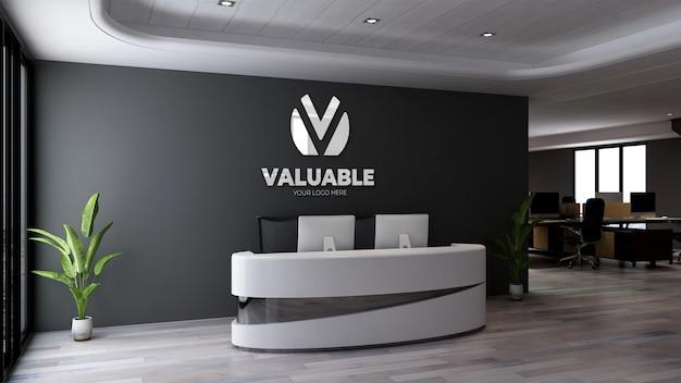 Sinalização de maquete de logotipo de luxo na sala do escritório da recepcionista