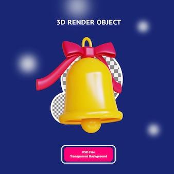 Sino de natal 3d com ilustração do objeto da fita renderizada