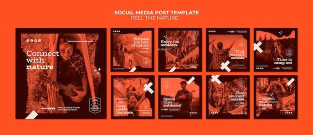 Sinta a natureza post de mídia social