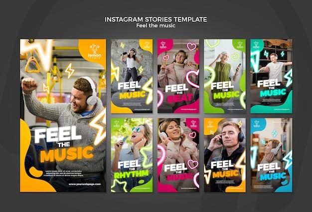 Sinta o modelo de histórias do instagram conceito de música