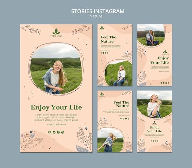 Sinta o modelo de histórias do instagram da natureza