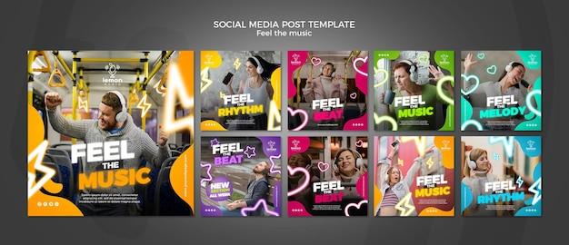 Sinta o modelo de postagem de mídia social do conceito de música