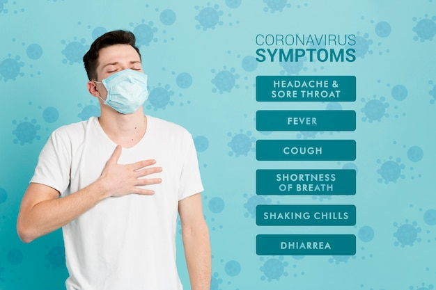 Sintomas de prevenção de coronavírus e homem doente