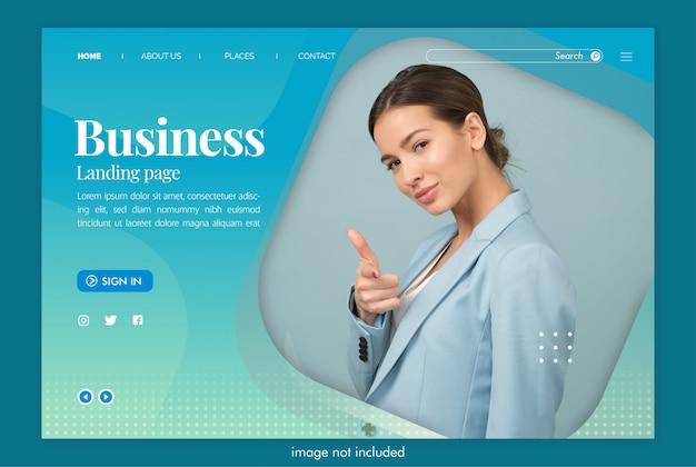 Site da página de destino de negócios com modelo de imagem