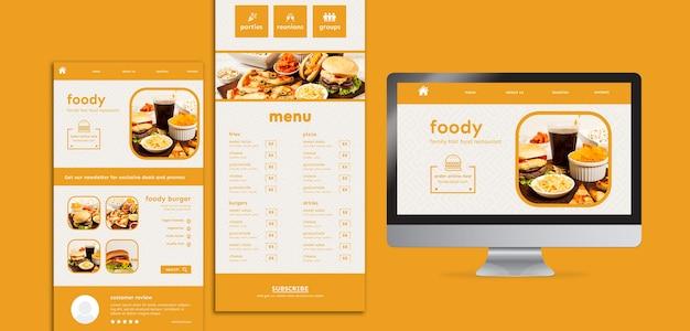 Site de comida americana e modelo de interface de aplicativo