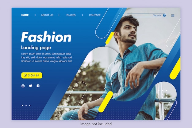 Site de moda página de destino de homem com modelo de imagem