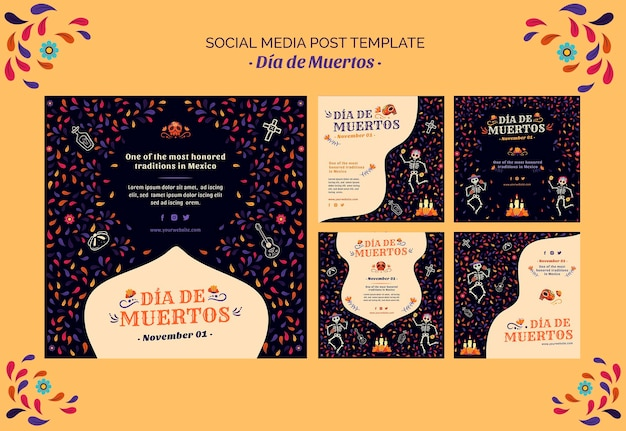 Skeleton and confetti dia de muertos mídia social post