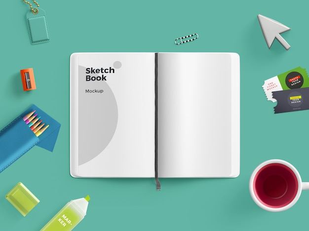 Sketch book mock-up de cena personalizada