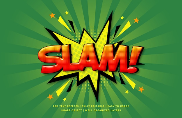 Slam comic speech efeito de estilo de texto 3d
