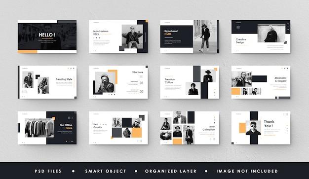 Slide minimalista de apresentação em preto e amarelo power point landing page