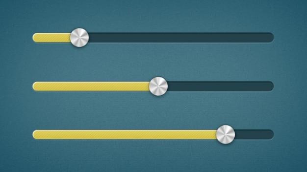 Sliders amarelos com botões metálicos