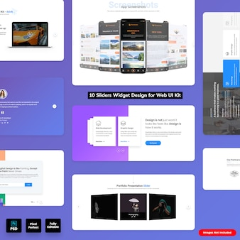 Sliders widgets design para web ui kit